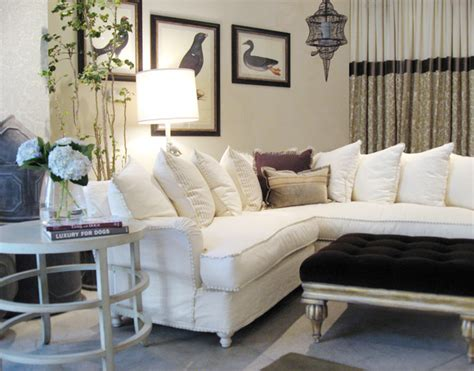 beautiful ivory slipcovered sectional traditional