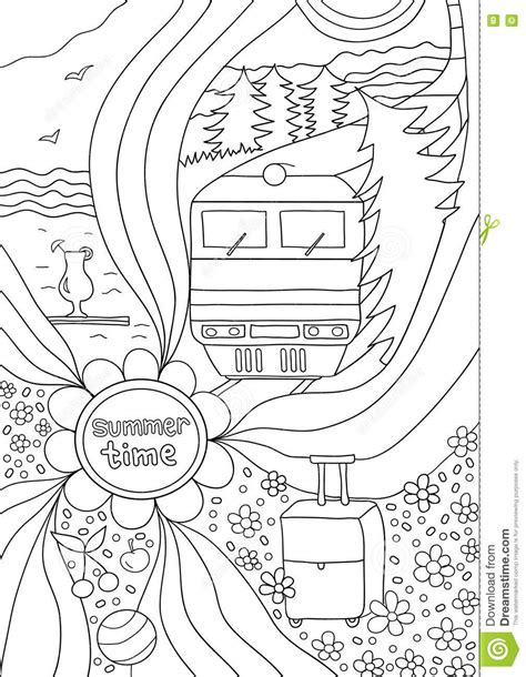 coloring pages for adults travel time to relax coloring page for adults anti stress stock