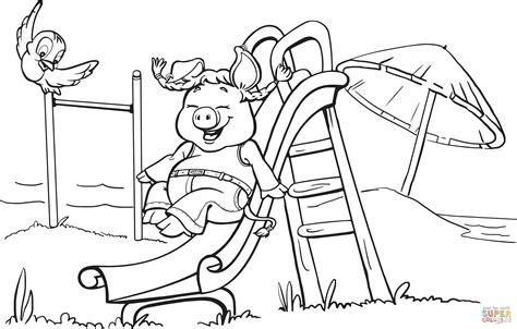 playground coloring pages pig on the playground slide coloring page free printable