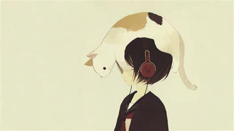 wallpaper anime cat download headphones headphones wallpaper 1366x768