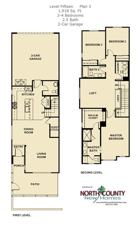 2 level floor plans new townhomes in escondido north county new homes