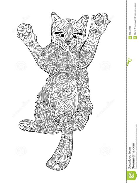 Funny Kitten Coloring Book For Adults Zentangle Cat