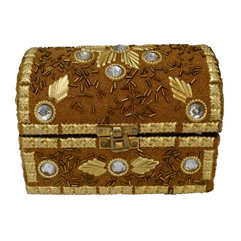 Handcrafted Jewellery Boxes - wooden jewellery box pitari with embedded stones boontoon