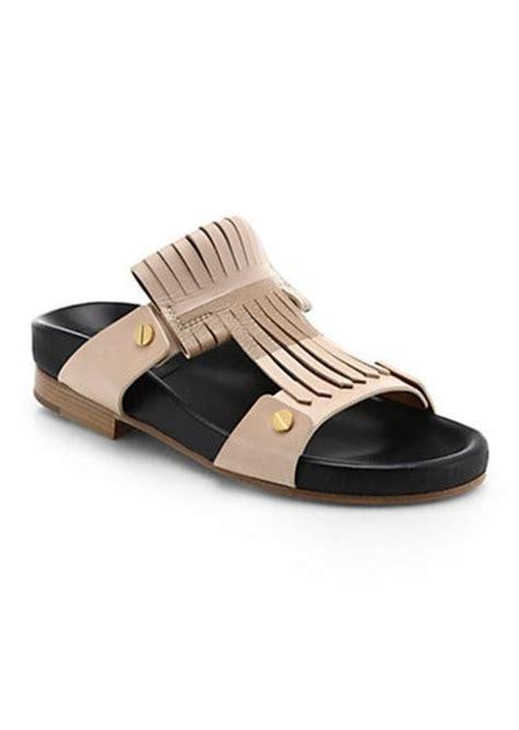 leather fringe sandals chlo 233 chlo 233 leather fringe birk sandals shoes shop it