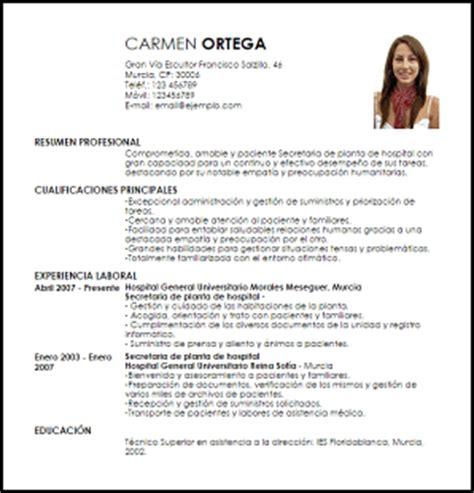 Modelo Curriculum Vitae De Secretaria Modelo Curriculum Vitae Secretaria De Planta De Hospital Livecareer