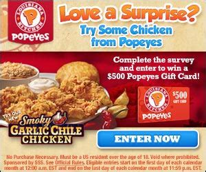 Popeyes Chicken Gift Cards - get a 500 popeyes chicken gift card us only