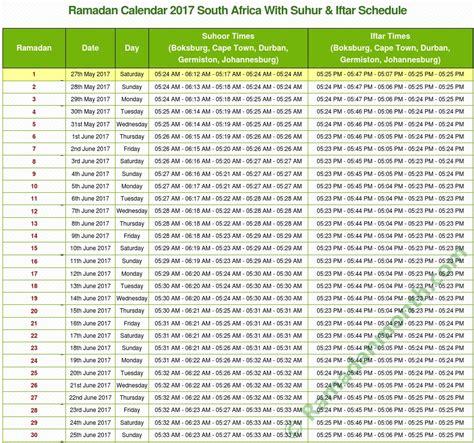 Islamic Calendar 2018 South Africa Ramadan 2018 South Africa Calendar With Prayers Timetable