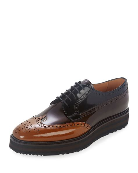 pradas shoes for prada tricolor leather wing tip derby shoe in brown for