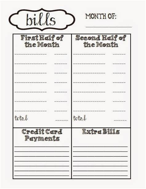 bill planner template free printable for monthly bills my pinspirations
