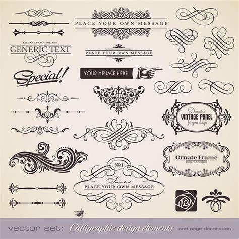 calligraphic design elements vector free download 無料素材 クラシックな飾り枠やラインのベクターイラストパーツ集