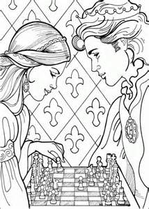 Coloring 6 And More Chess Pages Princesses sketch template