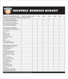 monthly business plan template business budget template 8 free pdf excel documents