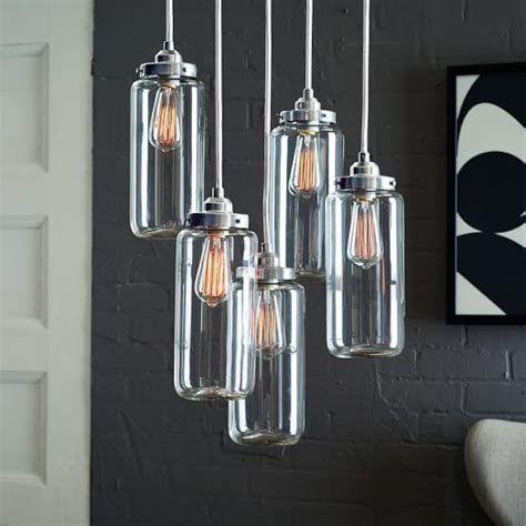 jar chandeliers 5 jar glass chandelier brushed nickel west elm