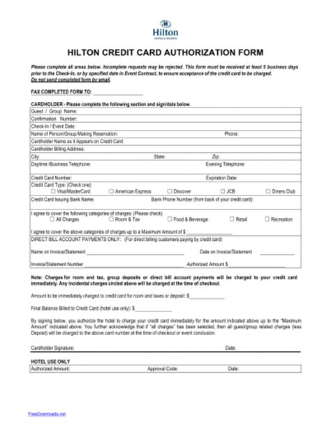 hotel credit card authorization form template credit card authorization form template