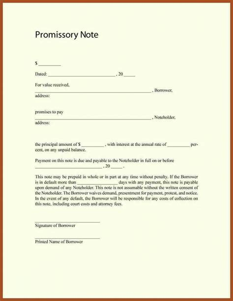 promissory note for personal loan template free promissory note template word pdf