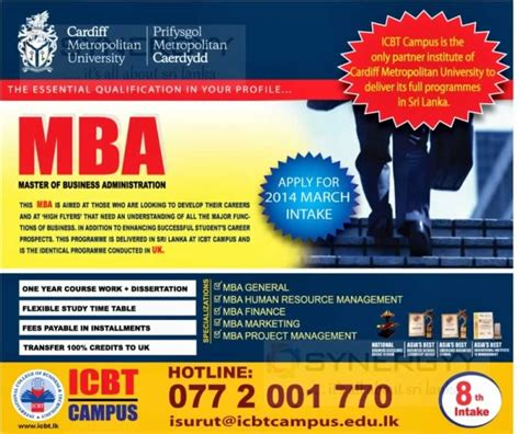 Metropolitan Mba by Cardiff Metropolitan Mba Master Of Business