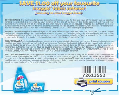 printable coupons for fabric softener printable coupons canada 1 off snuggle fabric softener