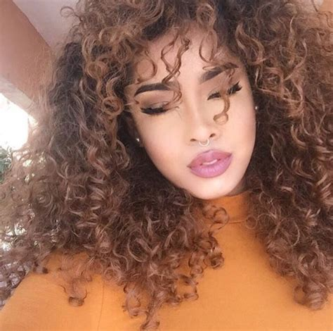 Light Brown Curly Hair by Curly Hair Hair Nose Ring Pink Lipstick Curly Hair Killas Image 4301724 By Lucialin On