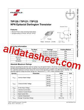 transistor tip122 datasheet pdf tip122 datasheet pdf fairchild semiconductor