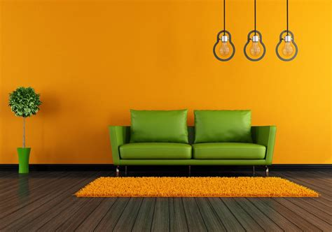 orange walls orange walls and white sofa for living room 3d house