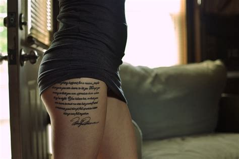 tattoo placement thigh there is beauty in this script quote tattoo cool upper