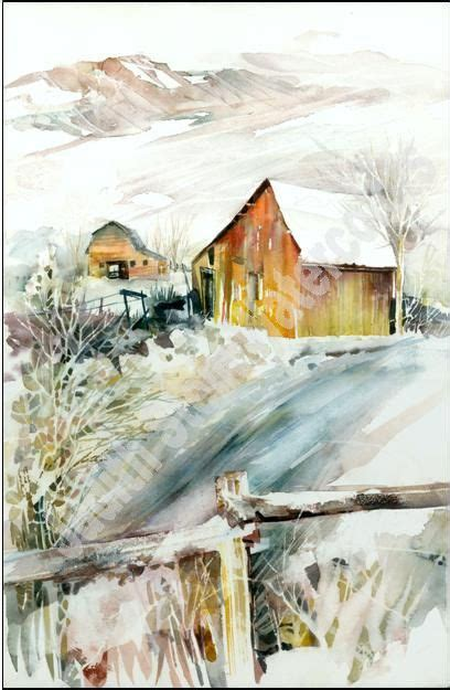 Judith Mountain Cabin cabin in rocky mountains in snow watercolor painting
