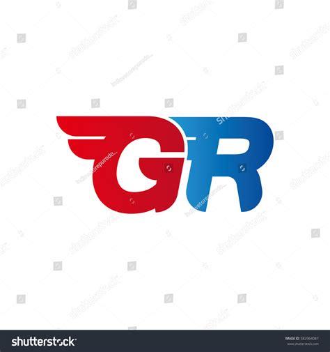 design logo gr aerodynamic initials letter gr logo vector stock vector
