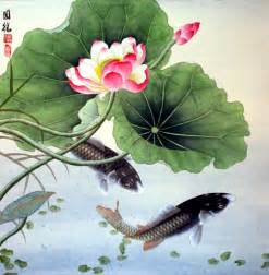 Koi Fish And Lotus Flower Koi Fish And Lotus Flower Painting Asian