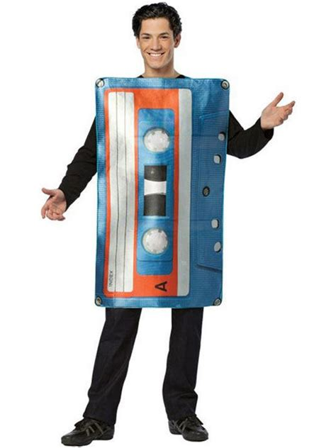 cassetta musicale cassette fancy dress costume radio mens
