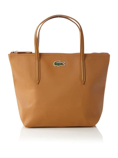 lacoste pique small tote bag in brown lyst