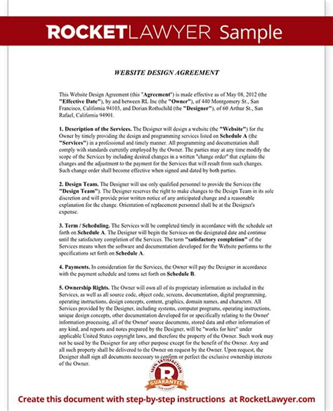 site agreement template web design contract template free website design