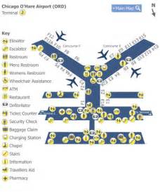 Terminal Map Chicago O Hare by Chicago O Hare Airport Ord Terminal 2 Map Map Of