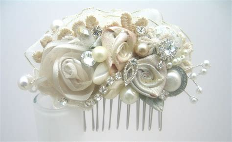 Wedding Hair Clip Accessories by Vintage Inspired Ivory Bridal Hair Clip Lace Floral Wedding
