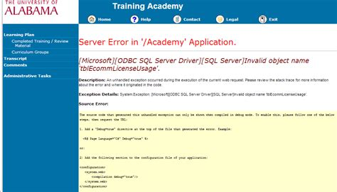 resolved academy server error hr ua edu the