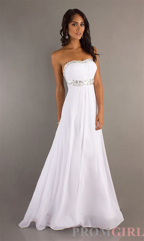 Strapless beaded waistband white prom dress trendy ladies clothes