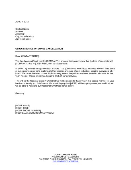letter of cancellation of annual leave notice to employees of bonus cancellation template