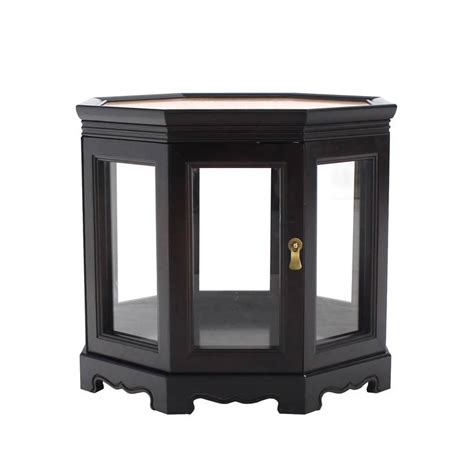 Hexagon Side Table Hexagon Black With Burl Wood Top Cabinet Side Table For Sale At 1stdibs
