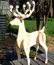 pattern for white wooden reindeer yard art figures at woodworkersworkshop holidays