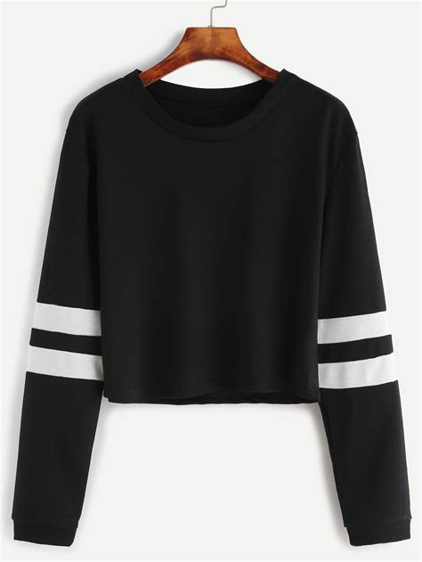 Sleeve Striped T Shirt black varsity striped sleeve crop t shirtfor romwe