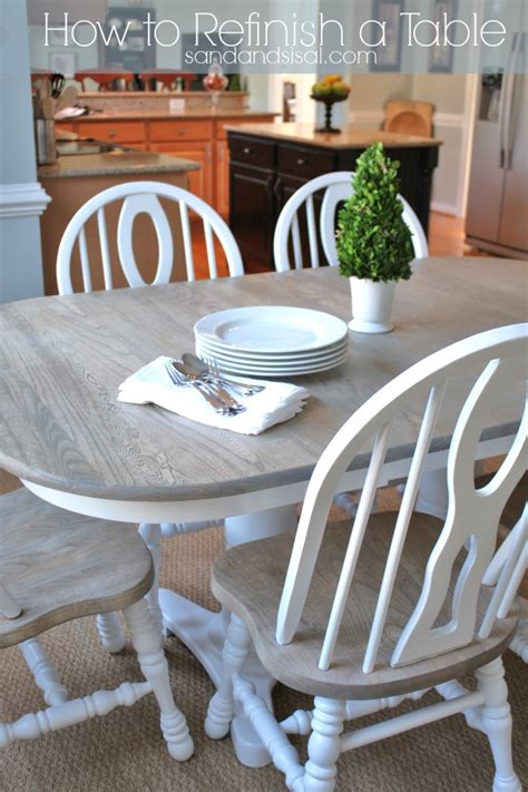 Kitchen Paint Ideas With Oak Cabinets by How To Refinish A Table Sand And Sisal