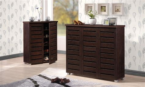 Brown Shoe Cabinet by 2 Or 3 Door Brown Shoe Cabinet Groupon