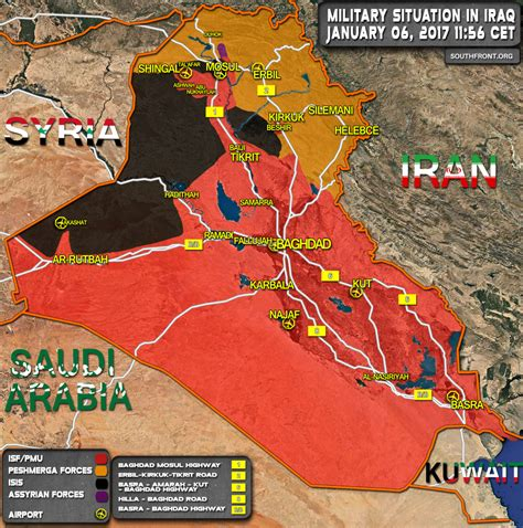 Military Situation In Iraq On January 6, 2017 (Map Update) Iraq 2017