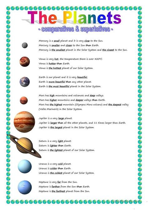 Planet Worksheets by The Planets Comparative Superlative Worksheet Free