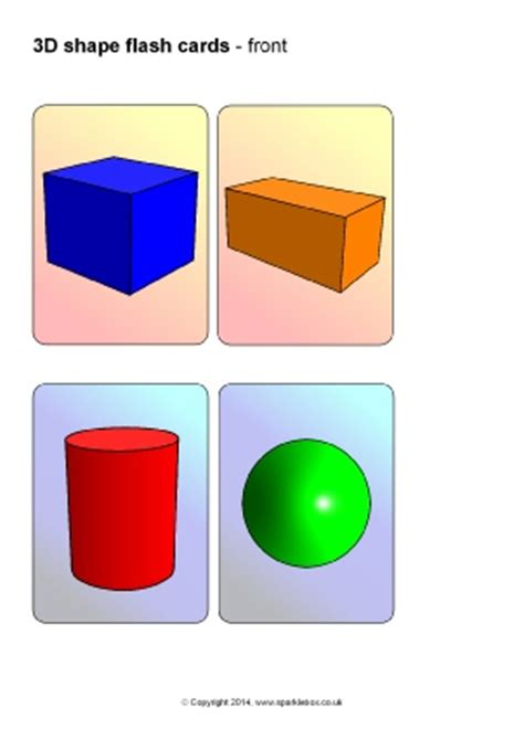 shape flash cards template ks1 and ks2 3d shapes teaching resources and printables
