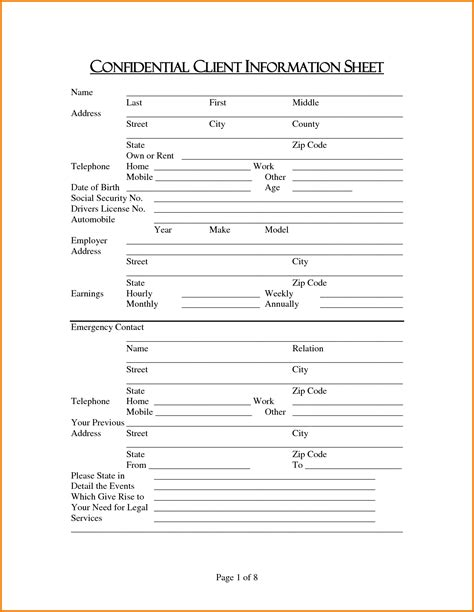 Client Information Sheet Authorization Letter Pdf Tax Client Information Sheet Template
