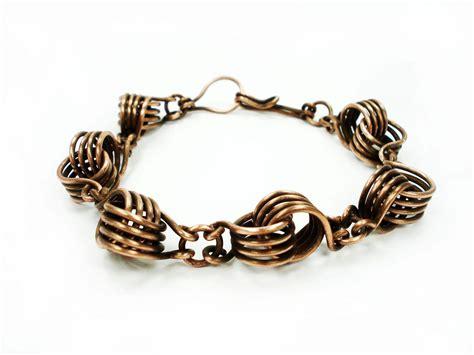 copper link bracelet wire wrap knot bracelet unique