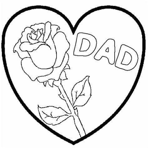 drawing dad heart flower coloring
