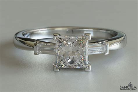 3 princess cut engagement ring baguette