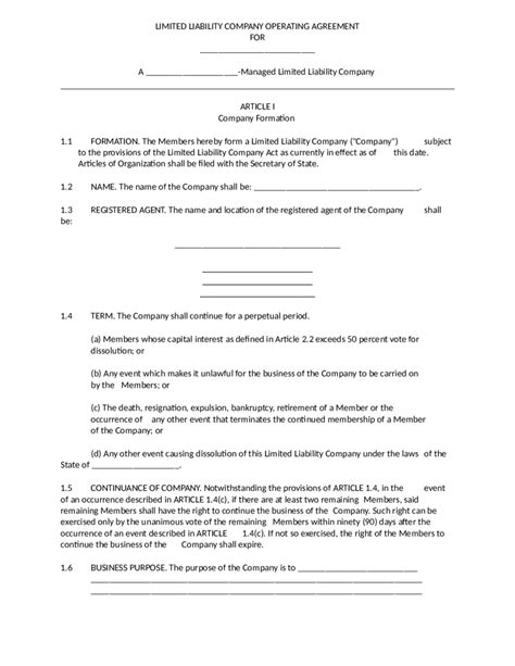 2018 Llc Operating Agreement Template Fillable Printable Pdf Forms Handypdf Limited Liability Company Operating Agreement Template Free