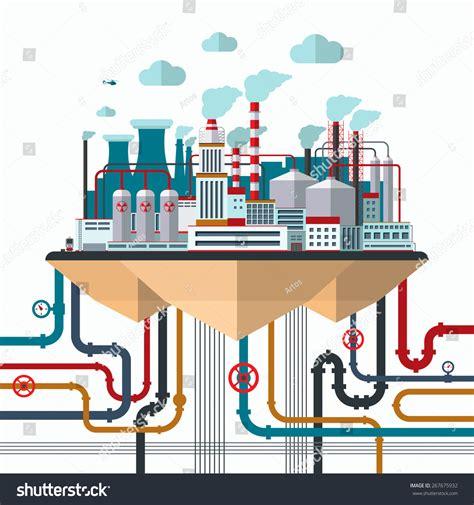 design concept manufacturing flat design concept nature pollution industrial stock